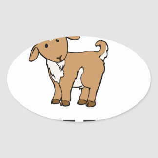 billy goat farm animal oval sticker