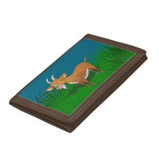 Billy goat with cheerful smile trifold wallet