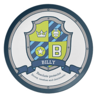Billy letter B name meaning heraldry shield kids Plate
