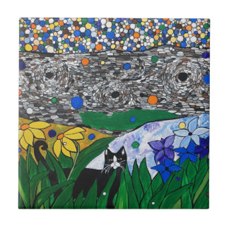 billy the cat and his secret garden small square tile
