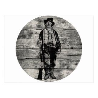 Billy The Kid on Wood Postcard