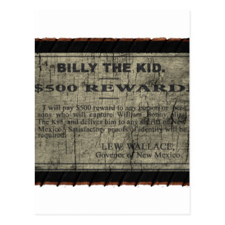 Billy The Kid Wanted Poster Postcard