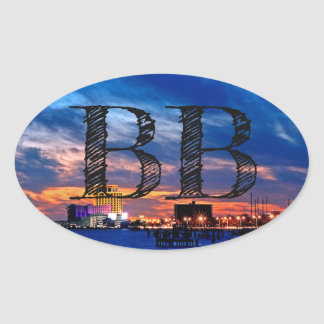 "Biloxi Beach ""BB"" Oval Sticker"