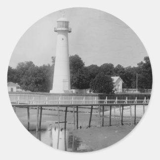 Biloxi Lighthouse Vintage Photo Round Sticker