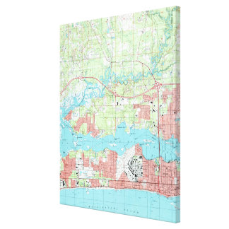 Biloxi Mississippi Map (1992) Canvas Print