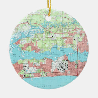 Biloxi Mississippi Map (1992) Ceramic Ornament