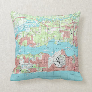 Biloxi Mississippi Map (1992) Cushion
