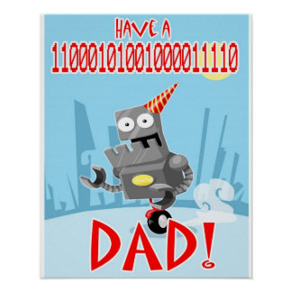 Binary Birthday Dad and Fathers Day poster
