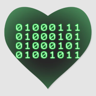 Binary code for GEEK Heart Sticker