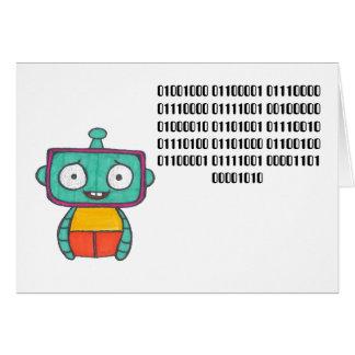 Binary Code Happy Birthday Card - Robot