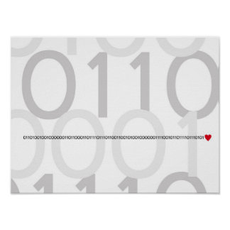 Binary code I love you poster Geek heart