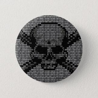 Binary Code Skull and Crossbones 6 Cm Round Badge