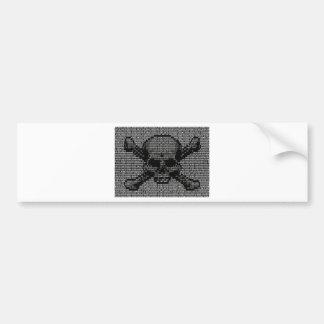 Binary Code Skull and Crossbones Bumper Sticker