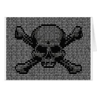 Binary Code Skull and Crossbones Card