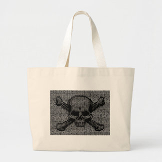 Binary Code Skull and Crossbones Large Tote Bag