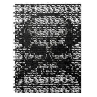 Binary Code Skull and Crossbones Spiral Notebooks