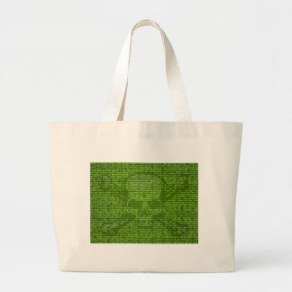 Binary Code Skull and Crossedbones Large Tote Bag