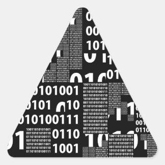 Binary in Black & White Triangle Sticker