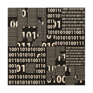 Binary in Black & White Wood Print