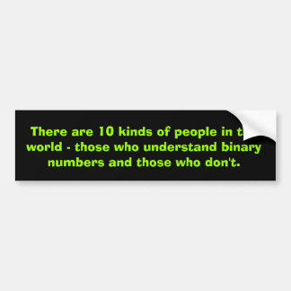 Binary numbers bumper sticker