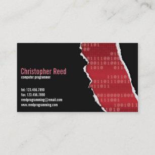 Rip business cards zazzle au binary rip red business card colourmoves