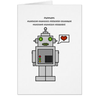 Binary with Robot - I love you Card
