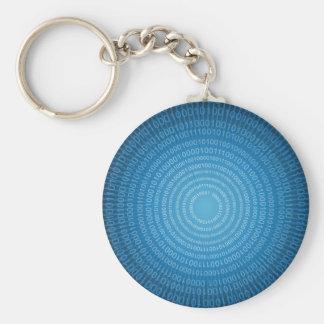 Binary World Basic Round Button Key Ring