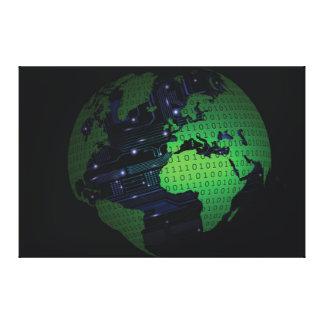 Binary World Earth Globe Xlarge Canvas Stretched Canvas Print