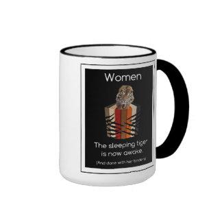 Binders Full of Women Sleeping Tiger Gifts Ringer Mug