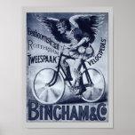 Bingham & Co. Velocipedes Vintage Bicycle Poster