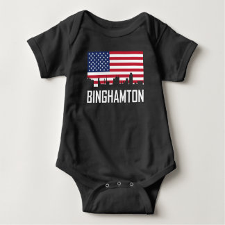 Binghamton New York Skyline American Flag Baby Bodysuit