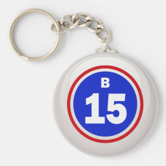 BINGO BALL B-15 BASIC ROUND BUTTON KEY RING