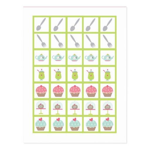 Bingo Card Markers Tea Party Pink Pastel Flowers Postcard
