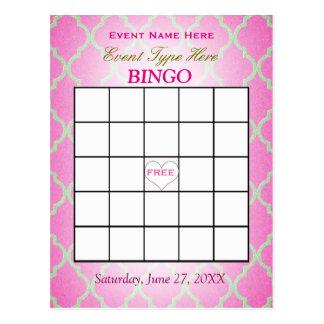 Bingo Card   Pink Quatrefoil
