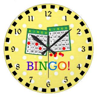 Bingo! Green and White Bingo Cards on Yellow Large Clock