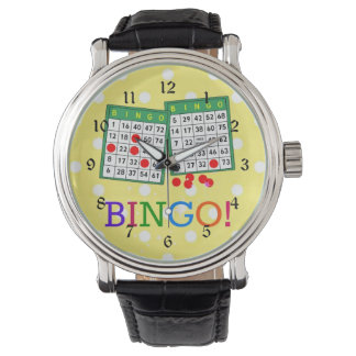 Bingo! Green and White Bingo Cards on Yellow Wrist Watch