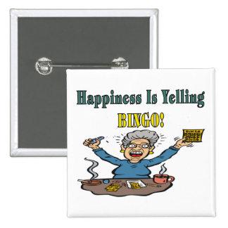 Bingo: Happiness Is 15 Cm Square Badge