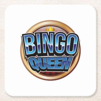 Bingo Queen Bingo Player Gift Funny Square Paper Coaster