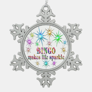 Bingo Sparkles Pewter Snowflake Decoration