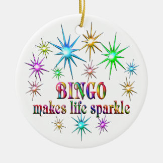 Bingo Sparkles Round Ceramic Decoration
