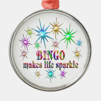 Bingo Sparkles Silver-Colored Round Decoration