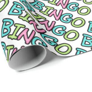 Bingo word art wrapping paper