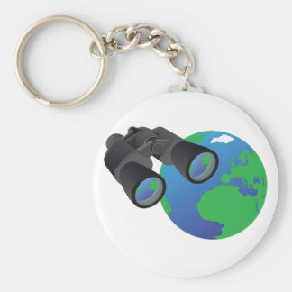 Binoculars And Earth Keychain