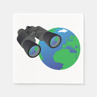 Binoculars And Earth Paper Napkins Disposable Serviette