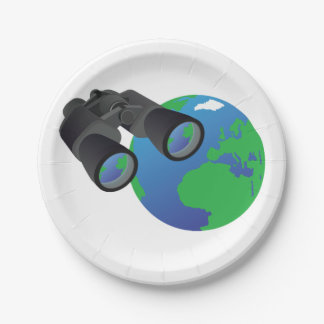 Binoculars And Earth Paper Plates 7 Inch Paper Plate