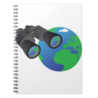 Binoculars And Earth Spiral Notebook