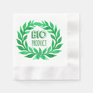 Bio Product Green Watercolor Farm Fresh Food Disposable Napkins