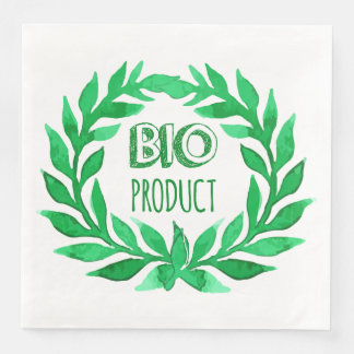 Bio Product Green Watercolor Farm Fresh Food Disposable Serviettes