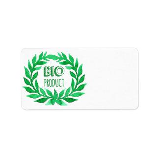 Bio Product Green Watercolor Farm Fresh Food Label