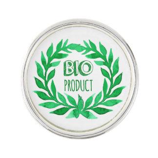Bio Product Green Watercolor Farm Fresh Food Lapel Pin